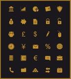 καταθέτοντας τα εικονίδ& Χρυσός ελεύθερη απεικόνιση δικαιώματος