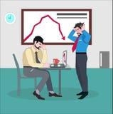 Καταθλιπτικός επιχειρηματίας με τα χέρια στο κεφάλι που στέκεται δίπλα στο γραφείο του ανησυχημένου συναδέλφου ελεύθερη απεικόνιση δικαιώματος