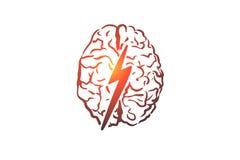Καταιγισμός ιδεών, δημιουργικός, εγκέφαλος, μυαλό, έννοια δύναμης Συρμένο χέρι απομονωμένο διάνυσμα ελεύθερη απεικόνιση δικαιώματος