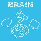 Καταιγισμός ιδεών εργασιών εγκεφάλου με megaphone Στοκ εικόνα με δικαίωμα ελεύθερης χρήσης