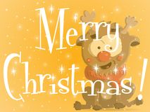 Κατακόκκινη πορτοκαλιά ευχετήρια κάρτα Χριστουγέννων ελεύθερη απεικόνιση δικαιώματος