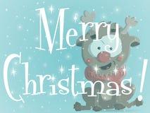 Κατακόκκινο μπλε διάνυσμα ευχετήριων καρτών Χριστουγέννων απεικόνιση αποθεμάτων