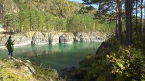 κατακόρυφος ποταμών πανοράματος βουνών 3 εικόνων hdr Βουνό Altai φιλμ μικρού μήκους