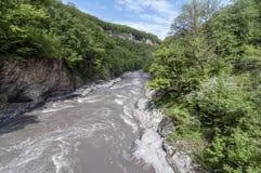 κατακόρυφος ποταμών πανοράματος βουνών 3 εικόνων hdr Στοκ Εικόνα