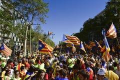 Καταλανική συνάθροιση ανεξαρτησίας στη Βαρκελώνη, Ισπανία Στοκ Φωτογραφίες
