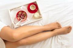 κατανάλωση έννοιας υγιής Χέρια γυναικών ` s που κρατούν το κύπελλο με το muesli και τα παγωμένα μούρα Στοκ Εικόνα
