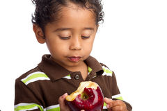 κατανάλωση παιδιών μήλων Στοκ Εικόνες