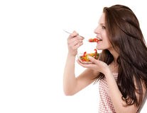 κατανάλωση της ευτυχούς γυναίκας σαλάτας Στοκ εικόνες με δικαίωμα ελεύθερης χρήσης