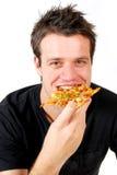 κατανάλωση της πίτσας ατόμ&o Στοκ Φωτογραφία