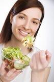 κατανάλωση της σαλάτας στοκ φωτογραφία