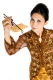 Κατανάλωση του υγιούς μπισκότου στοκ φωτογραφία