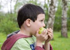 κατανάλωση παιδιών μήλων Στοκ Φωτογραφία