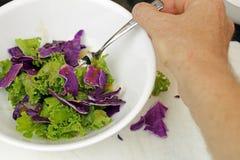 Κατανάλωση της σαλάτας λάχανων του Kale Στοκ Φωτογραφίες