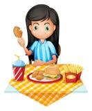 κατανάλωση του κοριτσι&o διανυσματική απεικόνιση