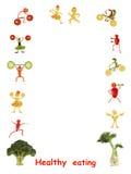 κατανάλωση υγιής Μικροί αστείοι άνθρωποι φιαγμένοι από λαχανικά και φρούτα Στοκ Εικόνες