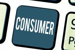 Καταναλωτής κειμένων γραφής Έννοια που σημαίνει καταδεικνύοντας ποιος αγοράζει τα αγαθά και τις υπηρεσίες για τη demonstratingal  στοκ φωτογραφία