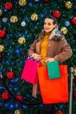 Καταναλωτισμός, Χριστούγεννα, αγορές, ευτυχής γυναίκα έννοιας τρόπου ζωής στοκ εικόνες