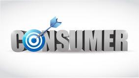 Καταναλωτική λέξη και σχέδιο απεικόνισης στόχων Στοκ Φωτογραφία