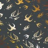 Καταπιείτε τη σκιαγραφία πουλιών στο γκρι διανυσματική απεικόνιση