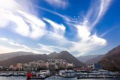 Καταπληκτικά cirrus ουρών φοράδων ` s σύννεφα στοκ φωτογραφία
