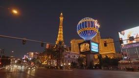 Καταπληκτικές ξενοδοχείο και χαρτοπαικτική λέσχη του Παρισιού στη λουρίδα του Λας Βέγκας - ΗΠΑ 2017 απόθεμα βίντεο