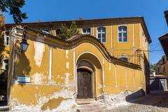 Καταπληκτική άποψη της οδού και των σπιτιών στην παλαιά πόλη Plovdiv, Βουλγαρία Στοκ φωτογραφία με δικαίωμα ελεύθερης χρήσης