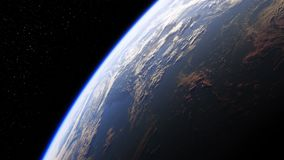 Καταπληκτική άποψη του πλανήτη Γη από το διάστημα Ρεαλιστική τρισδιάστατη ζωτικότητα Άνευ ραφής περιτυλίχτηκε ελεύθερη απεικόνιση δικαιώματος