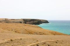 Καταπληκτική άποψη των αμμόλοφων άμμου Lanzarote Playas de Papagayo, Costa del Rubicon, Κανάρια νησιά Στοκ Εικόνες