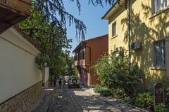 Καταπληκτική άποψη των σπιτιών στην παλαιά πόλη Plovdiv, Βουλγαρία Στοκ Εικόνες
