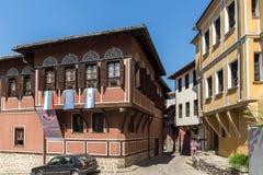 Καταπληκτική άποψη των σπιτιών στην παλαιά πόλη Plovdiv, Βουλγαρία Στοκ Φωτογραφίες