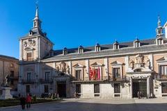 Καταπληκτική άποψη Plaza de Λα Villa στην πόλη της Μαδρίτης, Ισπανία Στοκ φωτογραφία με δικαίωμα ελεύθερης χρήσης