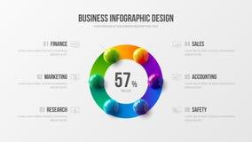 Καταπληκτική απεικόνιση σφαιρών επιχειρησιακής infographic παρουσίασης διανυσματική τρισδιάστατη ζωηρόχρωμη Ελεύθερη απεικόνιση δικαιώματος