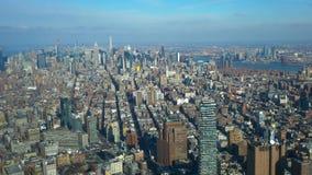 Καταπληκτική εναέρια άποψη πέρα από το Μανχάταν Νέα Υόρκη απόθεμα βίντεο