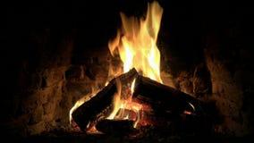 Καταπληκτική καλή άνετη 4k κοντά επάνω άποψη βρόχων σχετικά με το ξύλινο κάψιμο φλογών πυρκαγιάς αργά στην ήρεμη ατμόσφαιρα κούτσ απόθεμα βίντεο