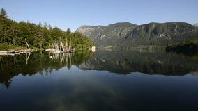 Καταπληκτική λίμνη Bohinj το πρωί Βαθιά καθαρίστε το νερό με τα ψάρια και το πανέμορφο τοπίο της κοιλάδας Bohinj στις ιουλιανές Ά φιλμ μικρού μήκους