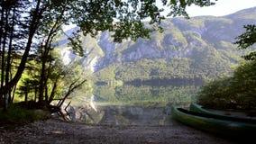 Καταπληκτική λίμνη Bohinj το πρωί Βαθιά καθαρίστε το νερό με τα ψάρια και το πανέμορφο τοπίο της κοιλάδας Bohinj στις ιουλιανές Ά απόθεμα βίντεο