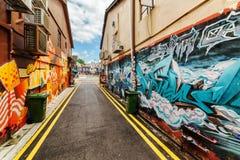 Καταπληκτική τέχνη οδών στο μουσουλμανικό τέταρτο Γκράφιτι στη Σιγκαπούρη Στοκ Φωτογραφία