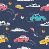 Καταπληκτικό άνευ ραφής διανυσματικό σχέδιο αυτοκινήτων Διακόσμηση μωρών με τη μηχανή παιχνιδιών απεικόνιση Στοκ Φωτογραφία