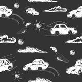 Καταπληκτικό άνευ ραφής διανυσματικό σχέδιο αυτοκινήτων Διακόσμηση μωρών με τη μηχανή παιχνιδιών απεικόνιση Στοκ εικόνα με δικαίωμα ελεύθερης χρήσης