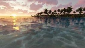 Καταπληκτικό ηλιοβασίλεμα πέρα από την τροπική παραλία απόθεμα βίντεο