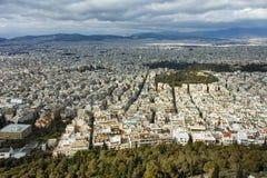 Καταπληκτικό πανόραμα της πόλης της Αθήνας από το λόφο Lycabettus, Αττική Στοκ φωτογραφία με δικαίωμα ελεύθερης χρήσης