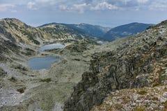 Καταπληκτικό πανόραμα των λιμνών Musalenski, βουνό Rila, Στοκ φωτογραφία με δικαίωμα ελεύθερης χρήσης