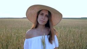 Καταπληκτικό πορτρέτο της όμορφης γυναίκας που στέκεται στον τομέα του ώριμου χρυσού σίτου απόθεμα βίντεο
