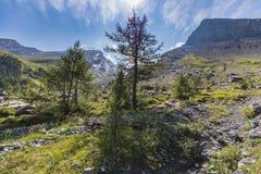Καταπληκτικό τοπίο στη διαδρομή υψηλών βουνών μέσω του περάσματος Gemmi Στοκ Φωτογραφίες