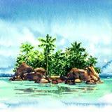 Καταπληκτικό τροπικό νησί με τους φοίνικες, βράχοι από τη θάλασσα, Maldivian ατόλλη στον ωκεανό, πανόραμα, απεικόνιση watercolor Στοκ εικόνα με δικαίωμα ελεύθερης χρήσης