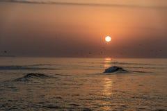 Καταπληκτικά κόκκινα κύματα ηλιοβασιλέματος στην παραλία Salalah Ομάν 3 Στοκ φωτογραφία με δικαίωμα ελεύθερης χρήσης