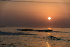 Καταπληκτικά κόκκινα κύματα ηλιοβασιλέματος στην παραλία Salalah Ομάν 5 Στοκ φωτογραφία με δικαίωμα ελεύθερης χρήσης