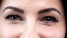 Καταπληκτική άποψη ενός κοριτσιού με τα μπλε μάτια closeup απόθεμα βίντεο