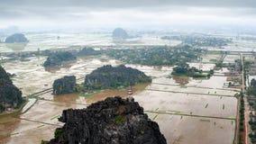 Καταπληκτική άποψη πανοράματος των τομέων ρυζιού Βιετνάμ Στοκ εικόνα με δικαίωμα ελεύθερης χρήσης