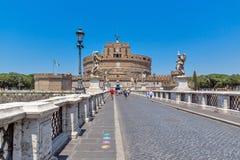 Καταπληκτική άποψη της γέφυρας και του κάστρου ST Angelo του ST Angelo στην πόλη της Ρώμης, Ιταλία Στοκ Φωτογραφίες